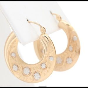 10K yellow and white gold vintage hoops